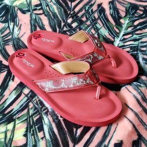 COACH Judy Red Flip Flops Size 10